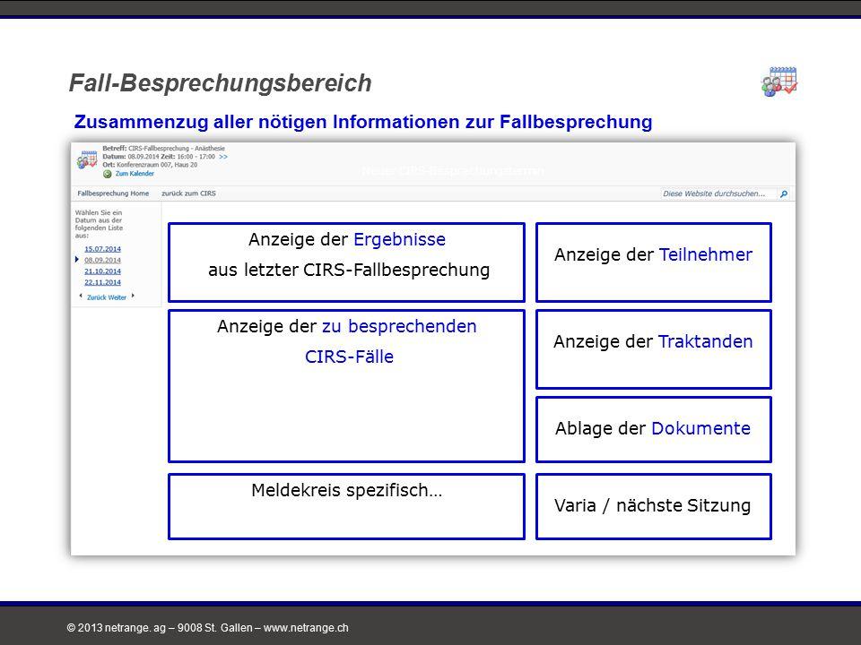 © 2013 netrange. ag – 9008 St. Gallen – www.netrange.ch Fall-Besprechungsbereich Zusammenzug aller nötigen Informationen zur Fallbesprechung Neuer CIR