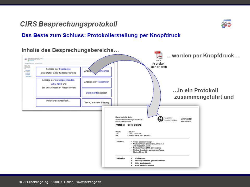 © 2013 netrange. ag – 9008 St. Gallen – www.netrange.ch CIRS Besprechungsprotokoll Das Beste zum Schluss: Protokollerstellung per Knopfdruck Inhalte d