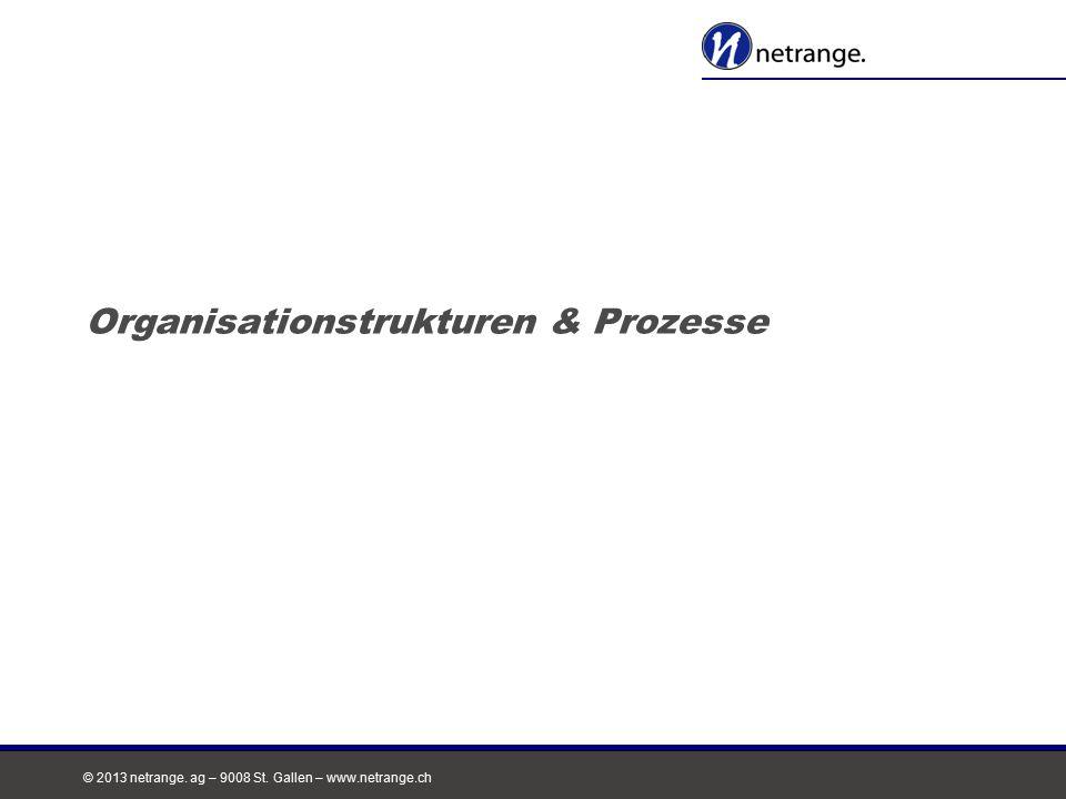 © 2013 netrange. ag – 9008 St. Gallen – www.netrange.ch Organisationstrukturen & Prozesse