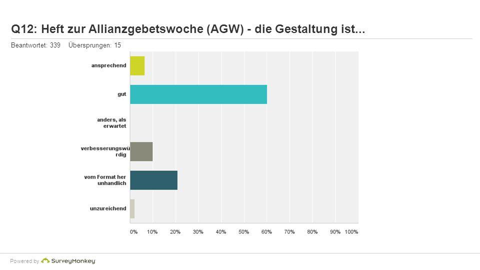 Powered by Q12: Heft zur Allianzgebetswoche (AGW) - die Gestaltung ist... Beantwortet: 339 Übersprungen: 15
