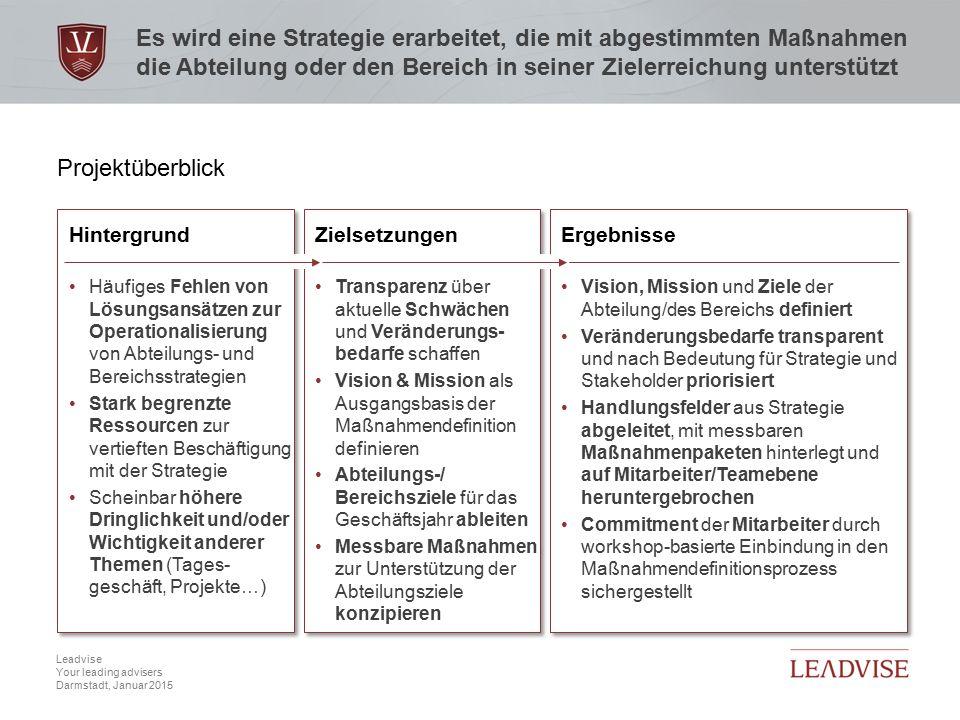 Hier kann eine zweizeilige Headline stehen Datum, 2 Leadvise Your leading advisers Darmstadt, Januar 2015 Es wird eine Strategie erarbeitet, die mit a