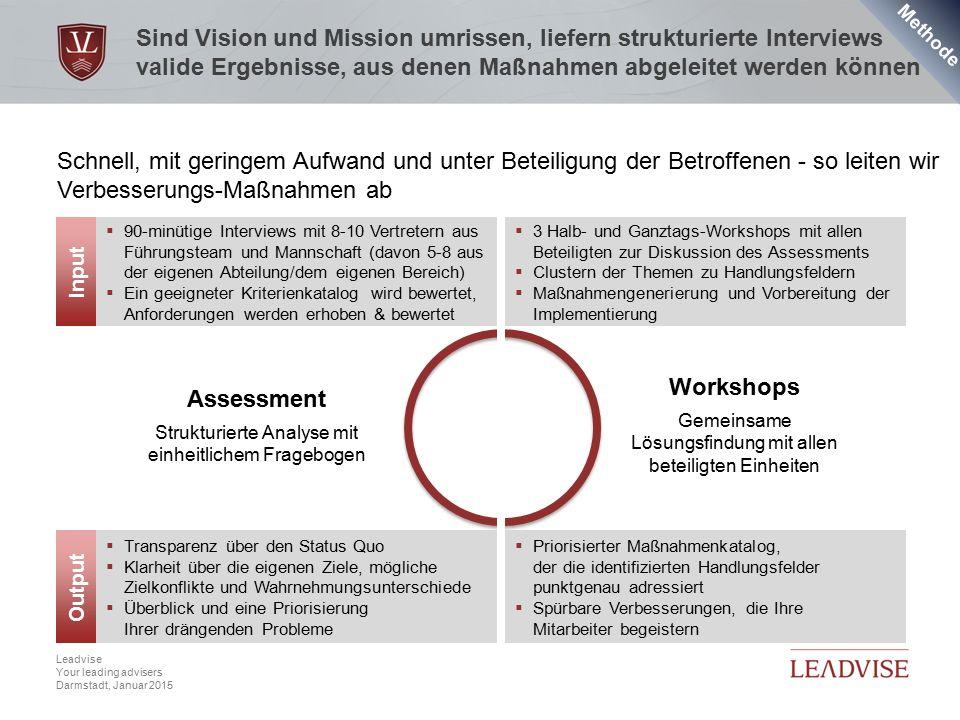 Hier kann eine zweizeilige Headline stehen Datum, 4 Leadvise Your leading advisers Darmstadt, Januar 2015 Sind Vision und Mission umrissen, liefern st
