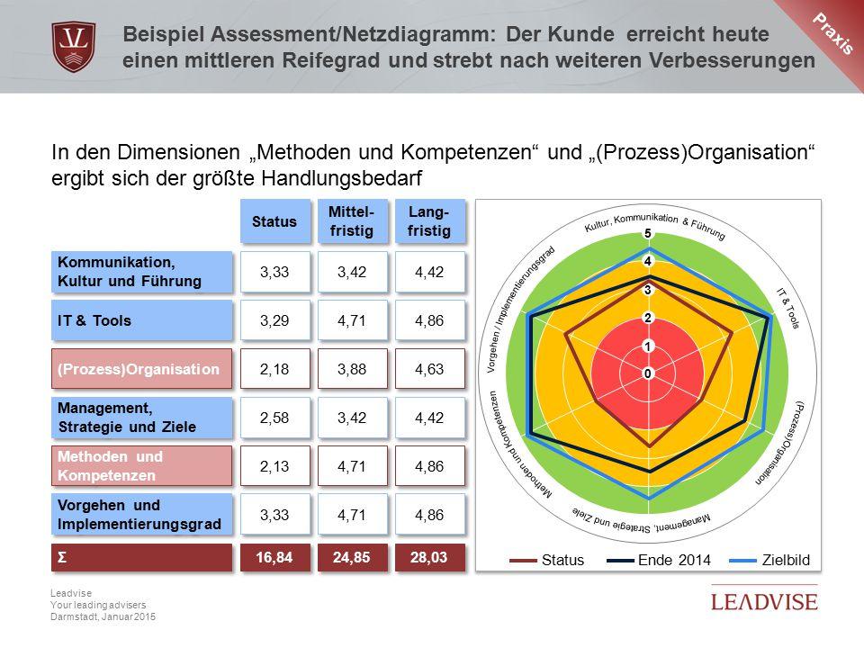 Hier kann eine zweizeilige Headline stehen Datum, 6 Leadvise Your leading advisers Darmstadt, Januar 2015 Beispiel Assessment/Netzdiagramm: Der Kunde