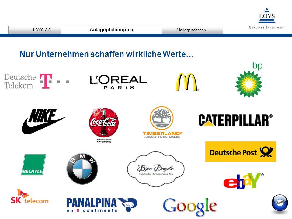 12/04/2007 8 AnlagephilosophieMarktgeschehen LOYS AG Anlagephilosophie Nur Unternehmen schaffen wirkliche Werte…