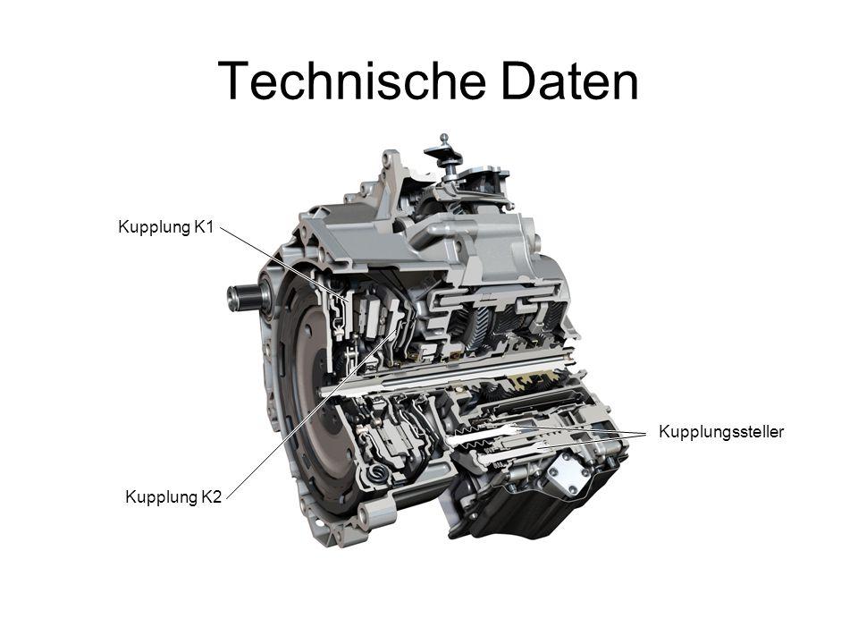 Technische Daten Kupplungssteller Kupplung K1 Kupplung K2