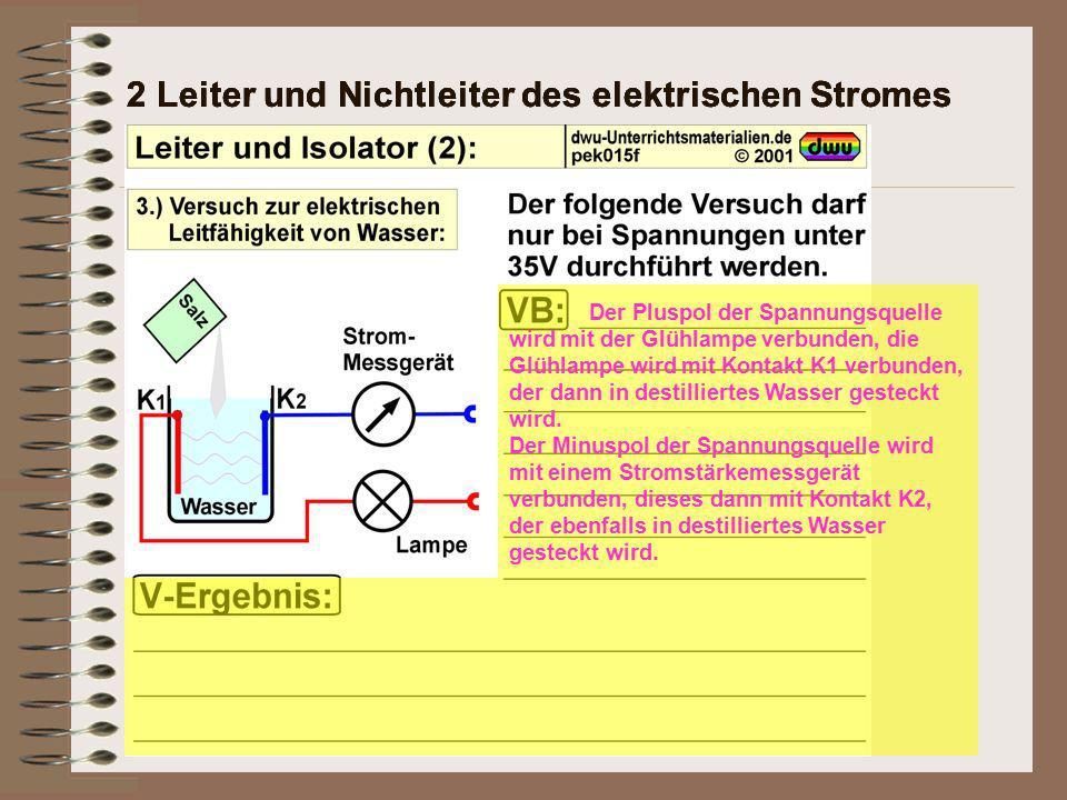 2 Leiter und Nichtleiter des elektrischen Stromes Der Pluspol der Spannungsquelle wird mit der Glühlampe verbunden, die Glühlampe wird mit Kontakt K1 verbunden, der dann in destilliertes Wasser gesteckt wird.
