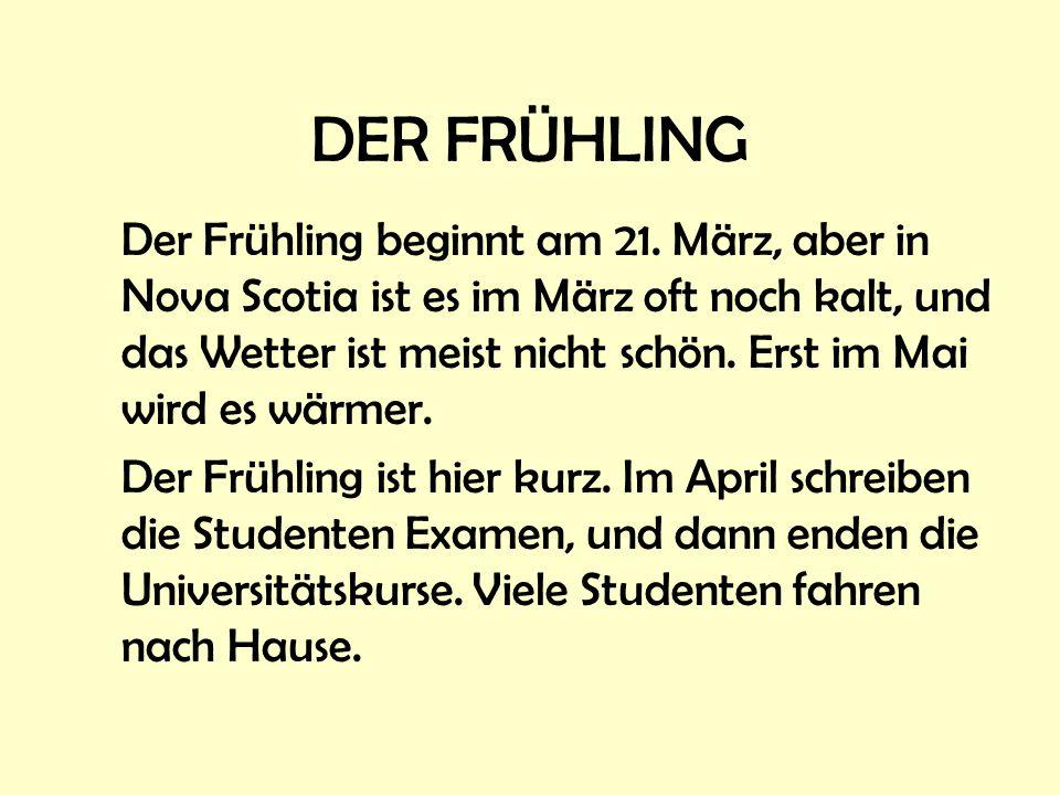 DER FRÜHLING Der Frühling beginnt am 21.