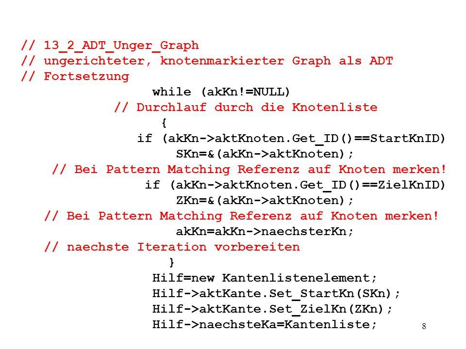 8 // 13_2_ADT_Unger_Graph // ungerichteter, knotenmarkierter Graph als ADT // Fortsetzung while (akKn!=NULL) // Durchlauf durch die Knotenliste { if (akKn->aktKnoten.Get_ID()==StartKnID) SKn=&(akKn->aktKnoten); // Bei Pattern Matching Referenz auf Knoten merken.