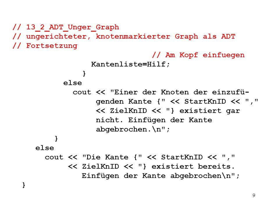 10 // 13_2_ADT_Unger_Graph // ungerichteter, knotenmarkierter Graph als ADT // Fortsetzung /* void Knoten_Loeschen(int id) { // hier muss zuerst kontrolliert werden, ob der Knoten Start- bzw.