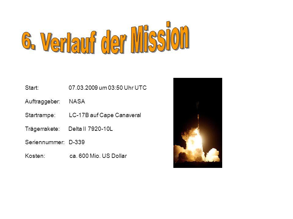 Start: 07.03.2009 um 03:50 Uhr UTC Auftraggeber: NASA Startrampe: LC-17B auf Cape Canaveral Trägerrakete: Delta II 7920-10L Seriennummer: D-339 Kosten: ca.