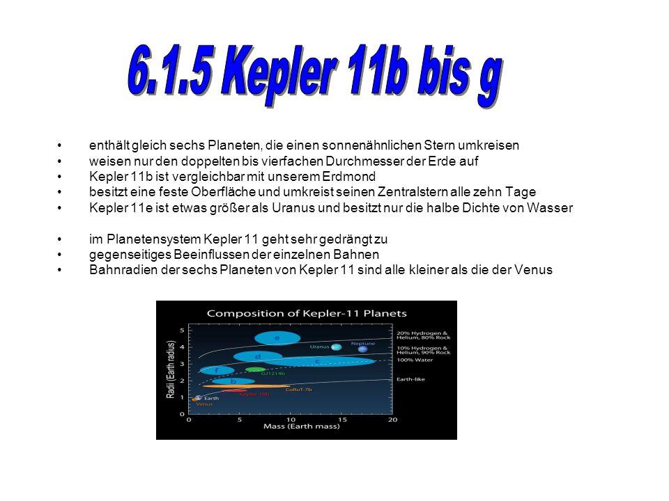 enthält gleich sechs Planeten, die einen sonnenähnlichen Stern umkreisen weisen nur den doppelten bis vierfachen Durchmesser der Erde auf Kepler 11b ist vergleichbar mit unserem Erdmond besitzt eine feste Oberfläche und umkreist seinen Zentralstern alle zehn Tage Kepler 11e ist etwas größer als Uranus und besitzt nur die halbe Dichte von Wasser im Planetensystem Kepler 11 geht sehr gedrängt zu gegenseitiges Beeinflussen der einzelnen Bahnen Bahnradien der sechs Planeten von Kepler 11 sind alle kleiner als die der Venus