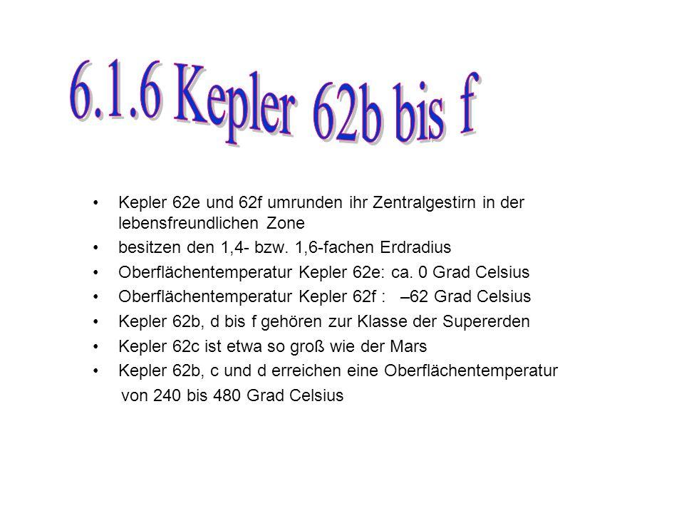 Kepler 62e und 62f umrunden ihr Zentralgestirn in der lebensfreundlichen Zone besitzen den 1,4- bzw.