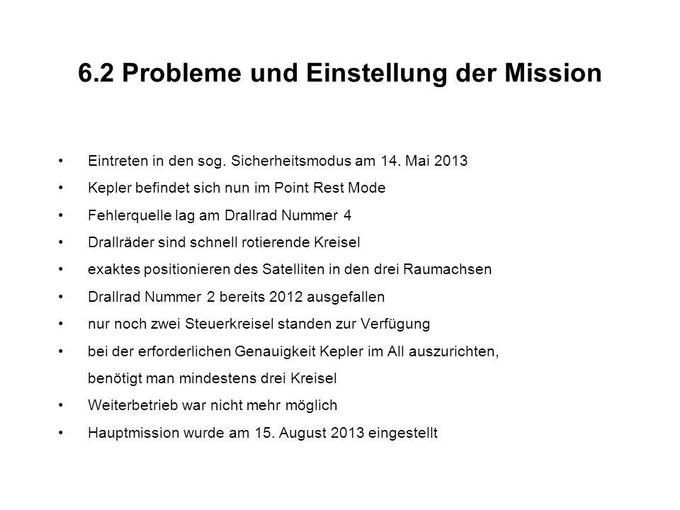 6.2 Probleme und Einstellung der Mission Eintreten in den sog.