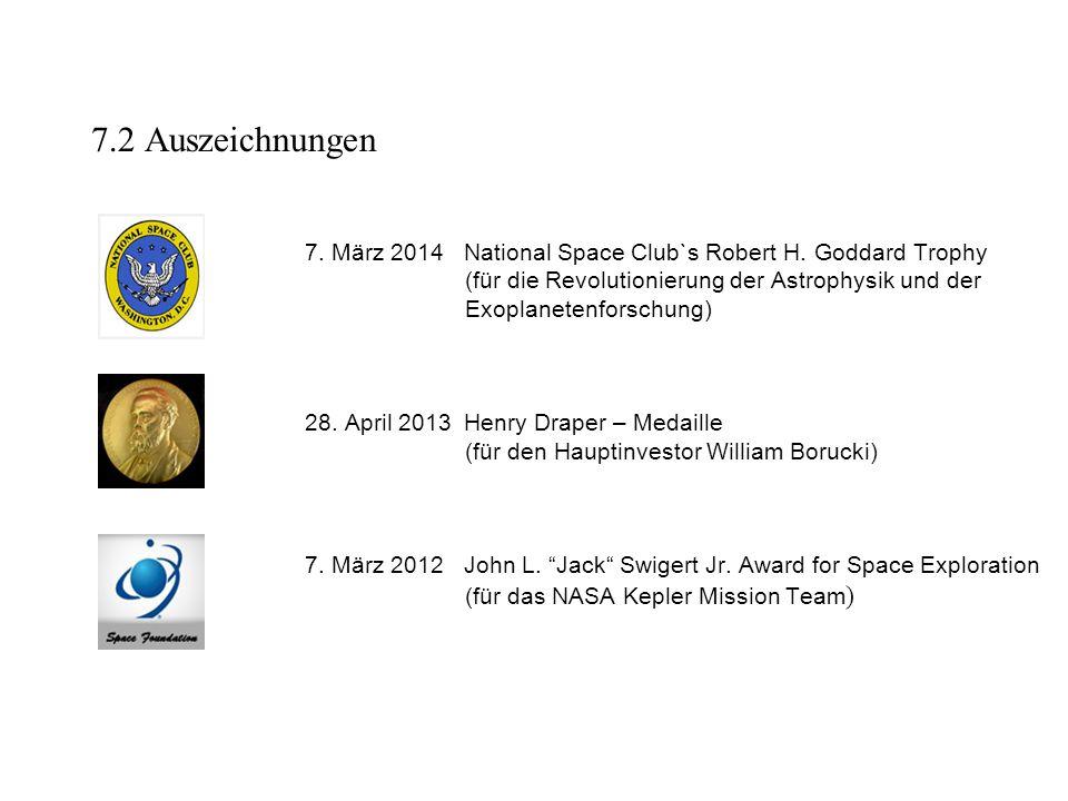 7.2 Auszeichnungen 7.März 2014 National Space Club`s Robert H.
