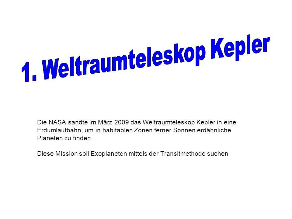 Die NASA sandte im März 2009 das Weltraumteleskop Kepler in eine Erdumlaufbahn, um in habitablen Zonen ferner Sonnen erdähnliche Planeten zu finden Diese Mission soll Exoplaneten mittels der Transitmethode suchen