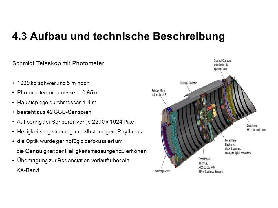 4.3 Aufbau und technische Beschreibung Schmidt Teleskop mit Photometer 1039 kg schwer und 5 m hoch Photometerdurchmesser: 0,95 m Hauptspiegeldurchmesser: 1,4 m besteht aus 42 CCD-Sensoren Auflösung der Sensoren von je 2200 x 1024 Pixel Helligkeitsregistrierung im halbstündigem Rhythmus die Optik wurde geringfügig defokussiert um die Genauigkeit der Helligkeitsmessungen zu erhöhen Übertragung zur Bodenstation verläuft über ein KA-Band