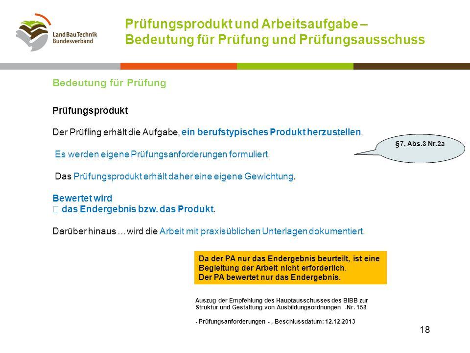 Prüfungsprodukt und Arbeitsaufgabe – Bedeutung für Prüfung und Prüfungsausschuss Auszug der Empfehlung des Hauptausschusses des BIBB zur Struktur und