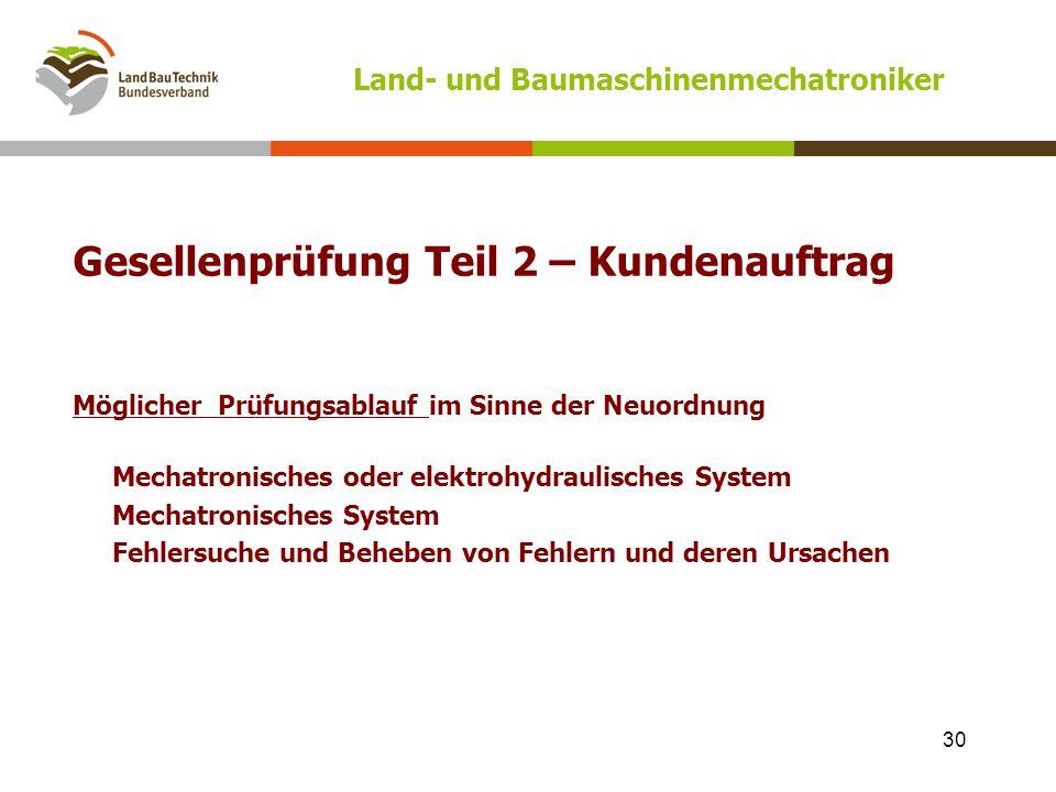 Land- und Baumaschinenmechatroniker Gesellenprüfung Teil 2 – Kundenauftrag Möglicher Prüfungsablauf im Sinne der Neuordnung Mechatronisches oder elekt