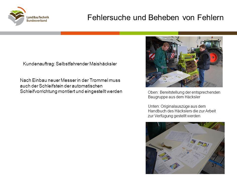 Oben: Bereitstellung der entsprechenden Baugruppe aus dem Häcksler Unten: Originalauszüge aus dem Handbuch des Häckslers die zur Arbeit zur Verfügung