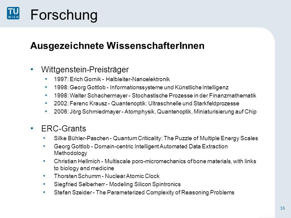 Forschung Ausgezeichnete WissenschafterInnen Wittgenstein-Preisträger 1997: Erich Gornik - Halbleiter-Nanoelektronik 1998: Georg Gottlob - Information