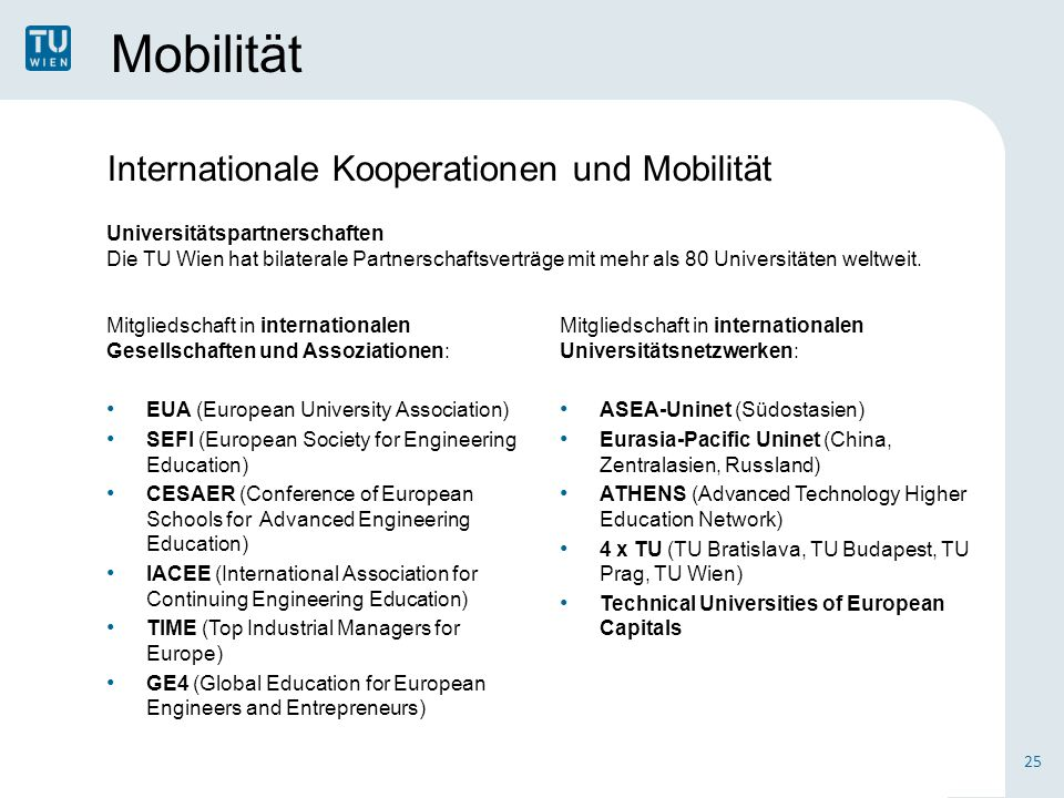 Mobilität Mitgliedschaft in internationalen Gesellschaften und Assoziationen: EUA (European University Association) SEFI (European Society for Engineering Education) CESAER (Conference of European Schools for Advanced Engineering Education) IACEE (International Association for Continuing Engineering Education) TIME (Top Industrial Managers for Europe) GE4 (Global Education for European Engineers and Entrepreneurs) 25 Internationale Kooperationen und Mobilität Universitätspartnerschaften Die TU Wien hat bilaterale Partnerschaftsverträge mit mehr als 80 Universitäten weltweit.