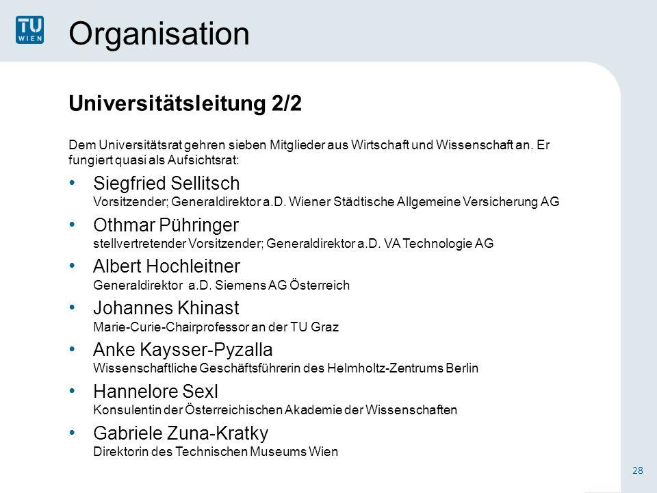 Organisation Universitätsleitung 2/2 Dem Universitätsrat gehren sieben Mitglieder aus Wirtschaft und Wissenschaft an. Er fungiert quasi als Aufsichtsr