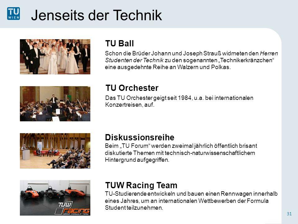 Jenseits der Technik TU Orchester Das TU Orchester geigt seit 1984, u.a. bei internationalen Konzertreisen, auf. TU Ball Schon die Brüder Johann und J