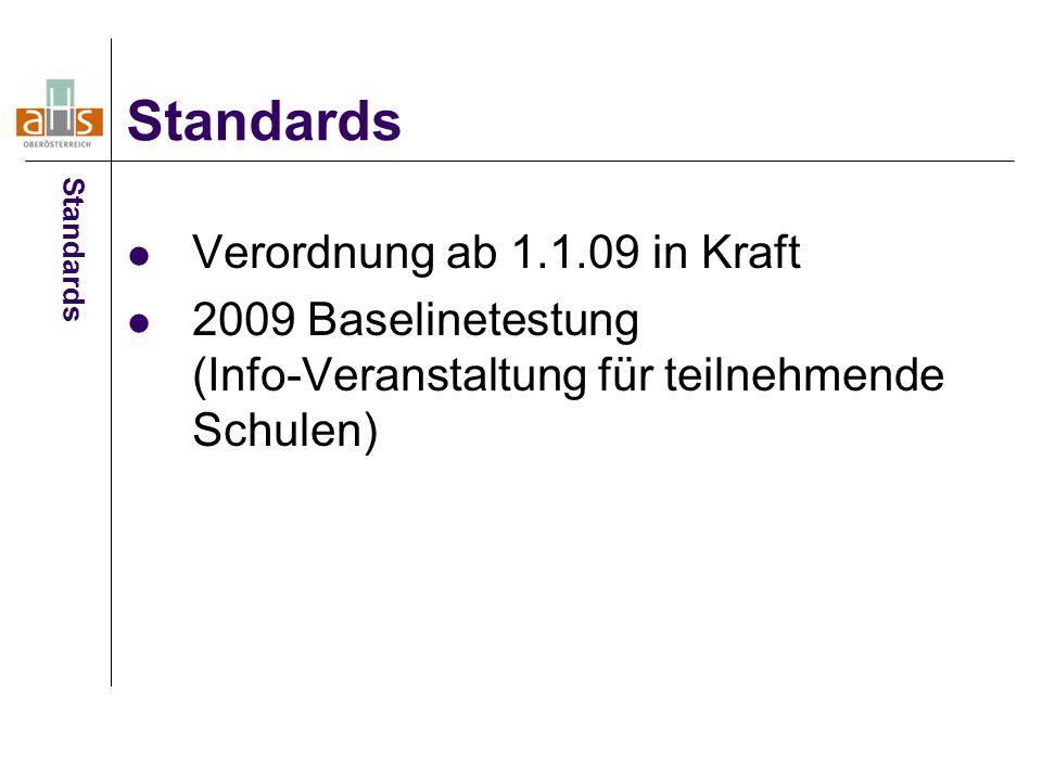 Verordnung ab 1.1.09 in Kraft 2009 Baselinetestung (Info-Veranstaltung für teilnehmende Schulen) Standards