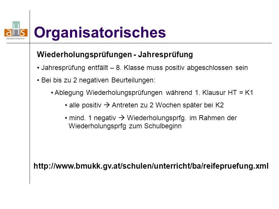 Organisatorisches Wiederholungsprüfungen - Jahresprüfung Jahresprüfung entfällt – 8.
