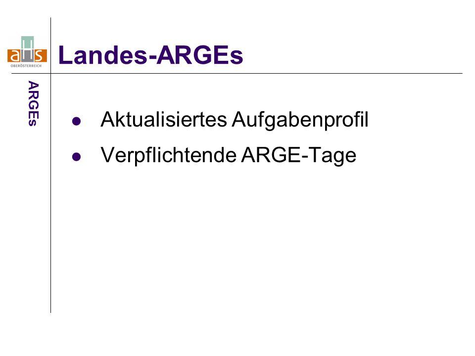 Aktualisiertes Aufgabenprofil Verpflichtende ARGE-Tage Landes-ARGEs ARGEs