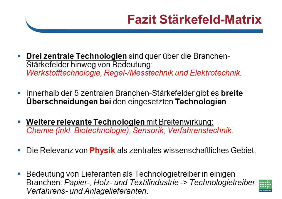Fazit Stärkefeld-Matrix  Drei zentrale Technologien sind quer über die Branchen- Stärkefelder hinweg von Bedeutung: Werkstofftechnologie, Regel-/Mess