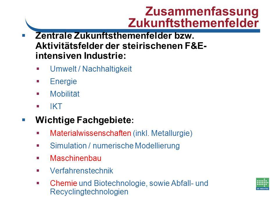 Zusammenfassung Zukunftsthemenfelder  Zentrale Zukunftsthemenfelder bzw. Aktivitätsfelder der steirischenen F&E- intensiven Industrie:  Umwelt / Nac
