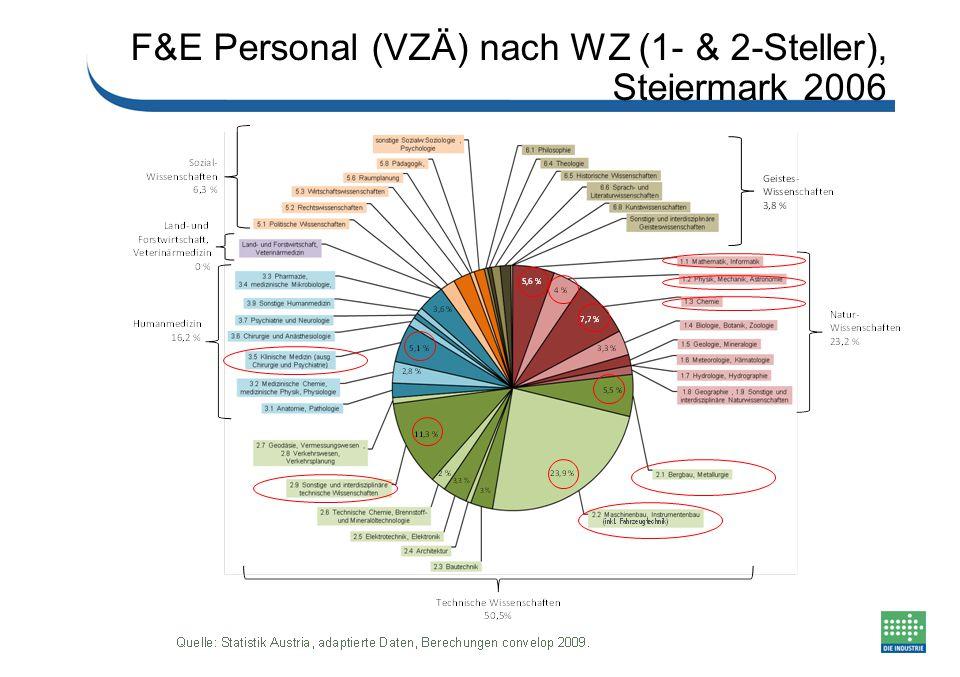 F&E Personal (VZÄ) nach WZ (1- & 2-Steller), Steiermark 2006