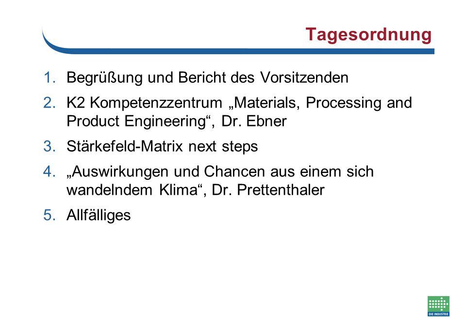 """Tagesordnung 1.Begrüßung und Bericht des Vorsitzenden 2.K2 Kompetenzzentrum """"Materials, Processing and Product Engineering"""", Dr. Ebner 3.Stärkefeld-Ma"""