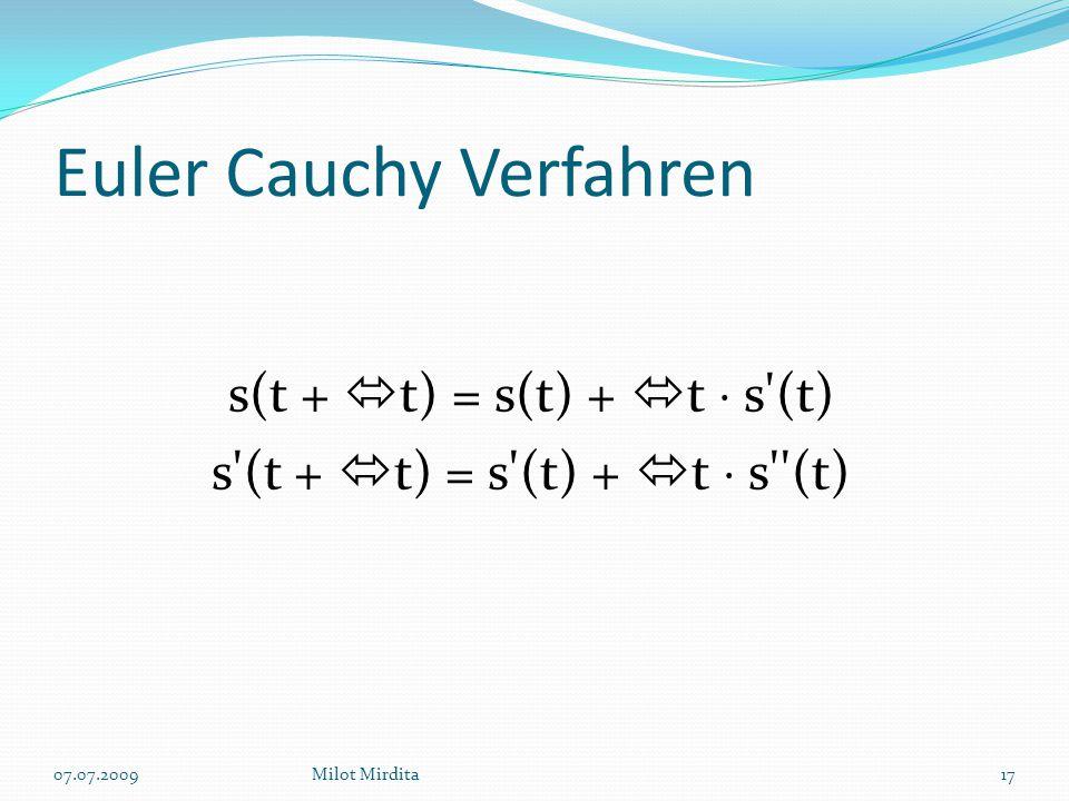 Euler Cauchy Verfahren s(t +  t) = s(t) +  t  s (t) s (t +  t) = s (t) +  t  s (t) 17Milot Mirdita07.07.2009
