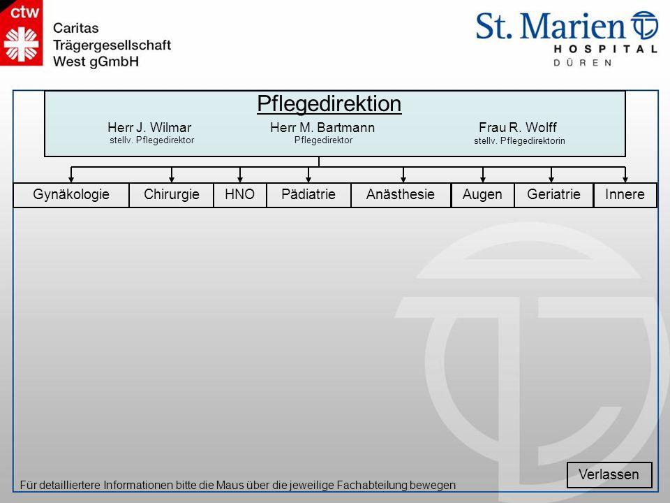 InnereGeriatrieChirurgiePädiatrieAnästhesieAugenHNOGynäkologie Verlassen Für detailliertere Informationen bitte die Maus über die jeweilige Fachabteil
