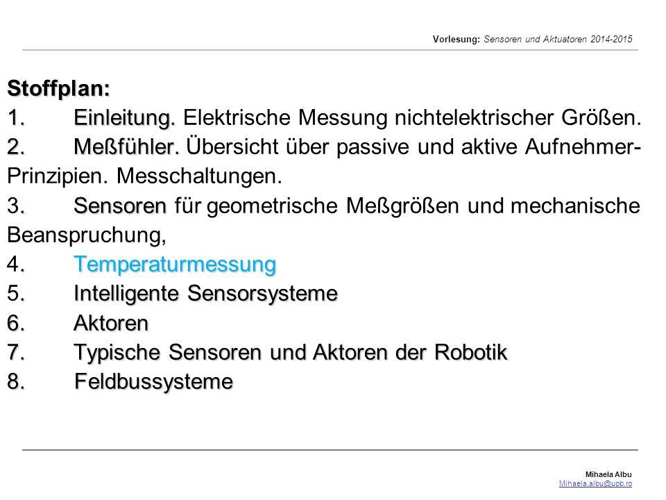 Mihaela Albu Mihaela.albu@upb.ro Vorlesung: Sensoren und Aktuatoren 2014-2015 Stoffplan: 1.Einleitung. 2.Meßfühler..Sensoren.Temperaturmessung.Intelli