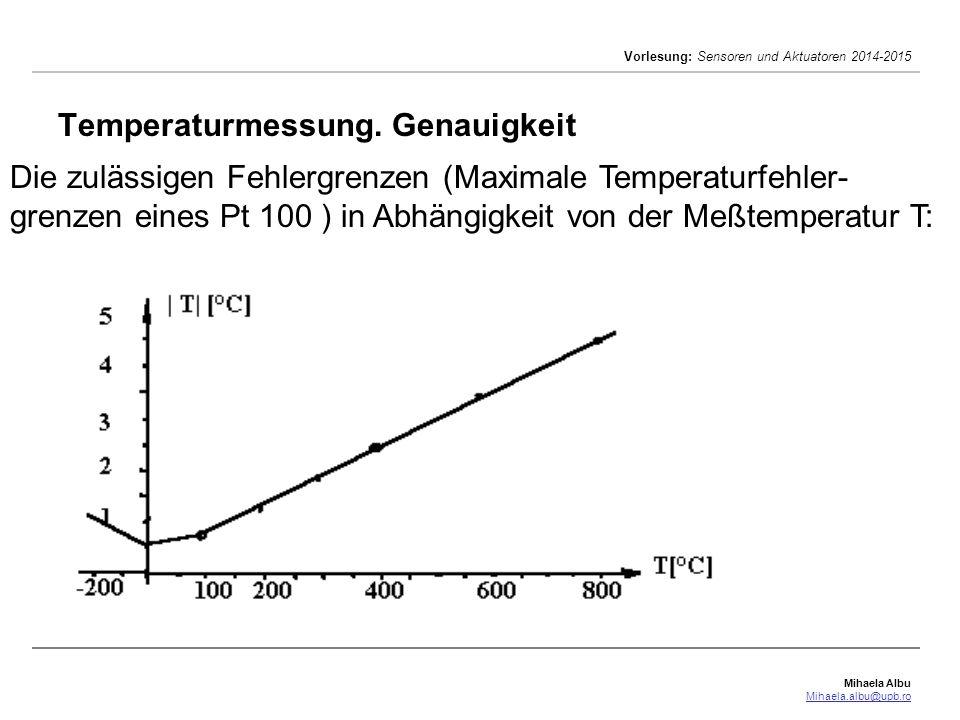 Mihaela Albu Mihaela.albu@upb.ro Vorlesung: Sensoren und Aktuatoren 2014-2015 Temperaturmessung. Genauigkeit Die zulässigen Fehlergrenzen (Maximale Te