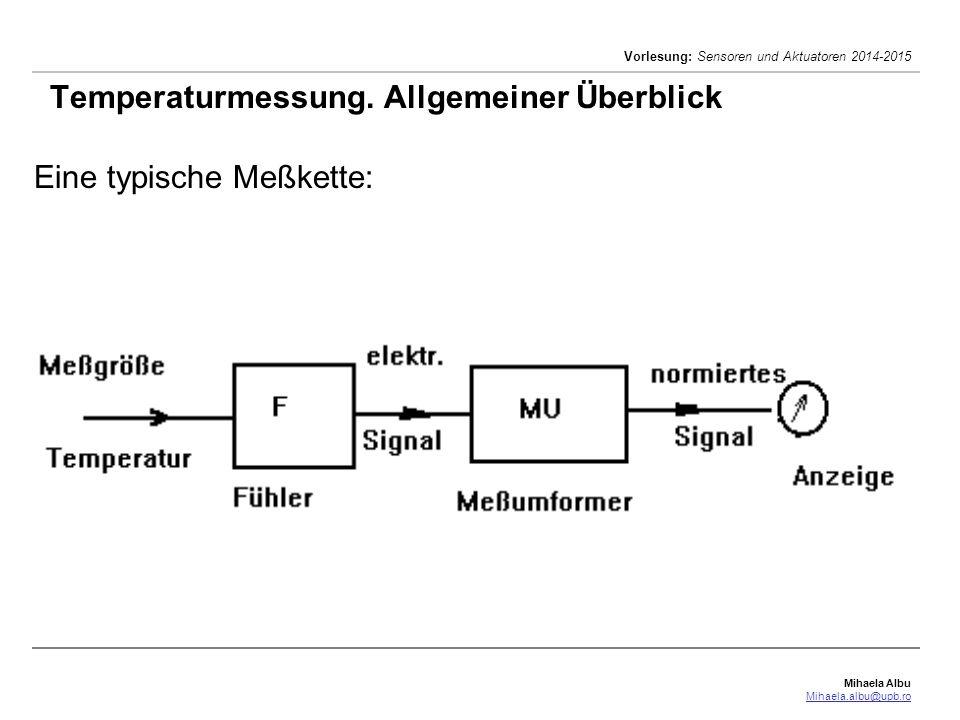 Mihaela Albu Mihaela.albu@upb.ro Vorlesung: Sensoren und Aktuatoren 2014-2015 Temperaturmessung. Allgemeiner Überblick Eine typische Meßkette: