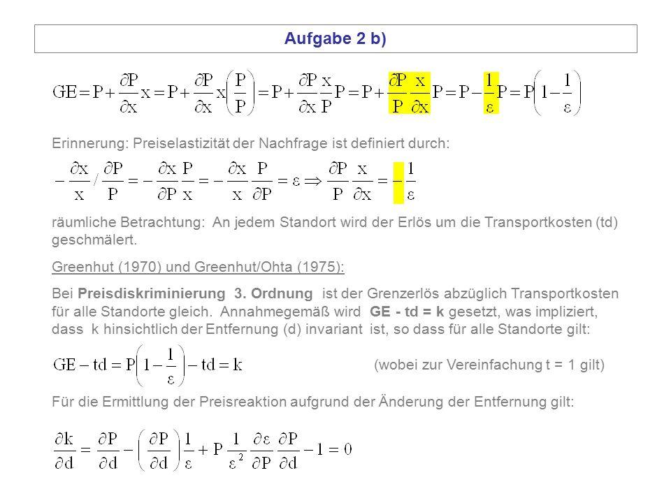 Aufgabe 2 b) räumliche Betrachtung: An jedem Standort wird der Erlös um die Transportkosten (td) geschmälert. Greenhut (1970) und Greenhut/Ohta (1975)