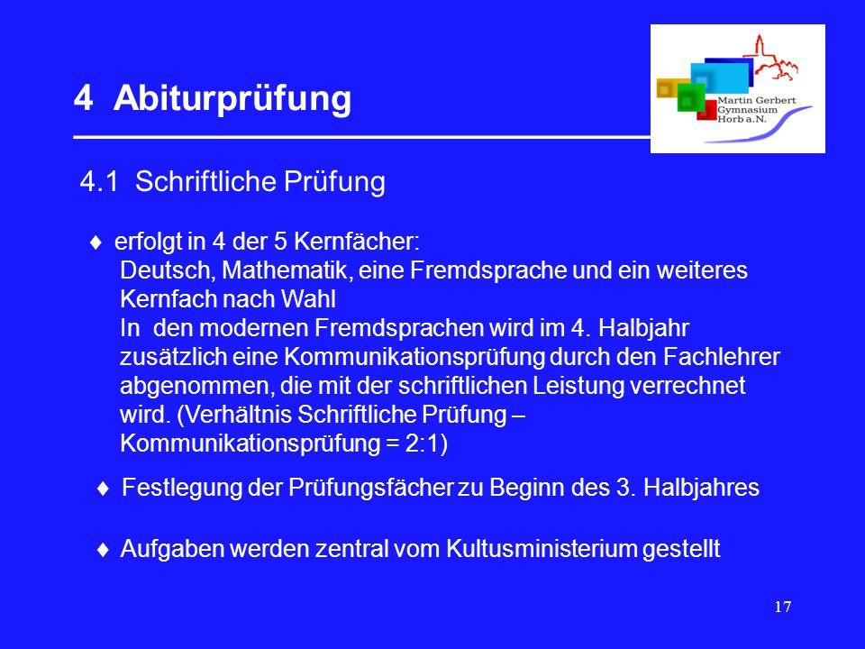17 4 Abiturprüfung __________________________________  4.1 Schriftliche Prüfung  erfolgt in 4 der 5 Kernfächer: Deutsch, Mathematik, eine Fremdsprac