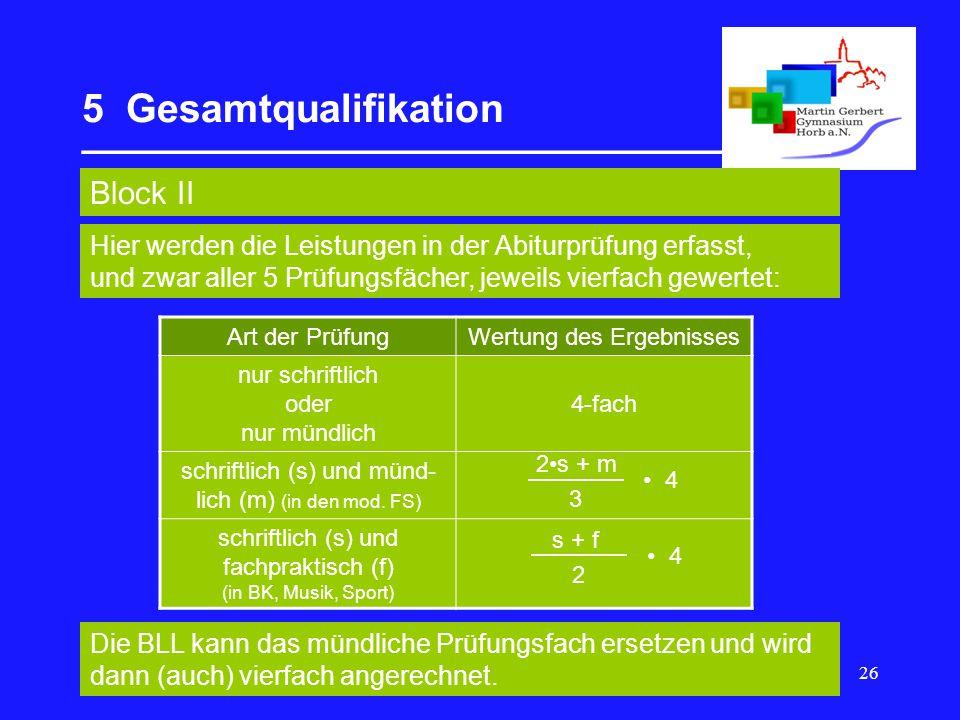 26 5 Gesamtqualifikation __________________________________ Block II Art der PrüfungWertung des Ergebnisses nur schriftlich oder nur mündlich 4-fach schriftlich (s) und münd- lich (m) (in den mod.