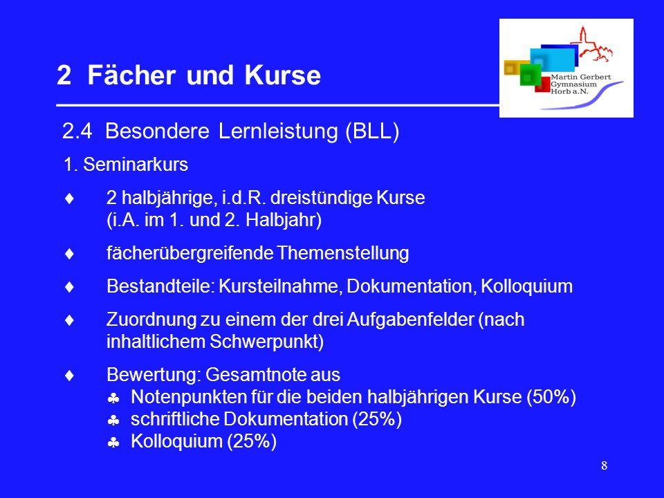 8 2 Fächer und Kurse __________________________________ 2.4 Besondere Lernleistung (BLL) 1. Seminarkurs  2 halbjährige, i.d.R. dreistündige Kurse (i.
