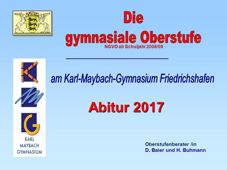 Oberstufenberater /in D. Baier und H. Buhmann Abitur 2017 NGVO ab Schuljahr 2008/09