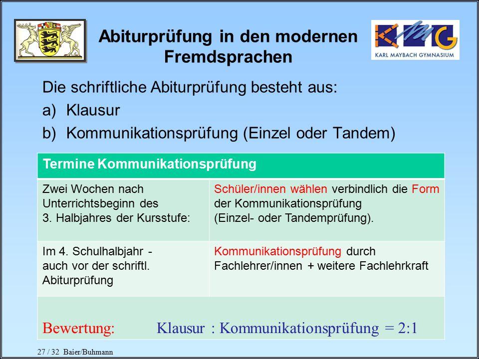 27 / 32 Baier/Buhmann Abiturprüfung in den modernen Fremdsprachen Die schriftliche Abiturprüfung besteht aus: a)Klausur b)Kommunikationsprüfung (Einzel oder Tandem) Termine Kommunikationsprüfung Zwei Wochen nach Unterrichtsbeginn des 3.