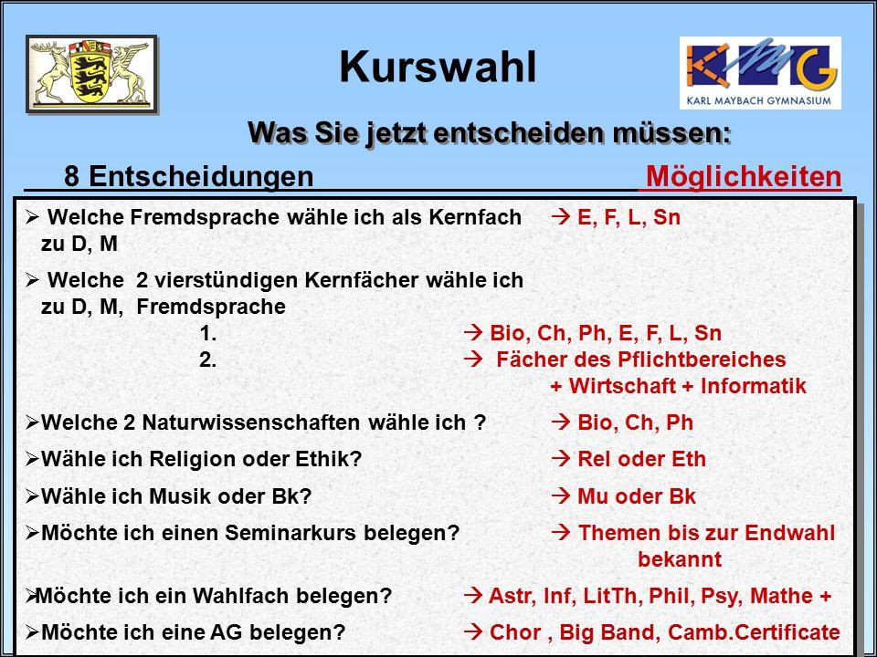 30 / 32 Baier/Buhmann Kurswahl Was Sie jetzt entscheiden müssen: 8 Entscheidungen Möglichkeiten  Welche Fremdsprache wähle ich als Kernfach  E, F, L, Sn zu D, M  Welche 2 vierstündigen Kernfächer wähle ich zu D, M, Fremdsprache 1.