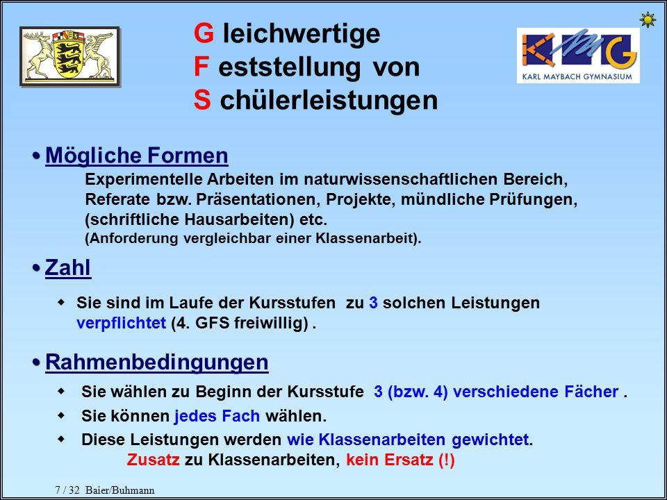 7 / 32 Baier/Buhmann G leichwertige F eststellung von S chülerleistungen Mögliche Formen Zahl Rahmenbedingungen Experimentelle Arbeiten im naturwissenschaftlichen Bereich, Referate bzw.
