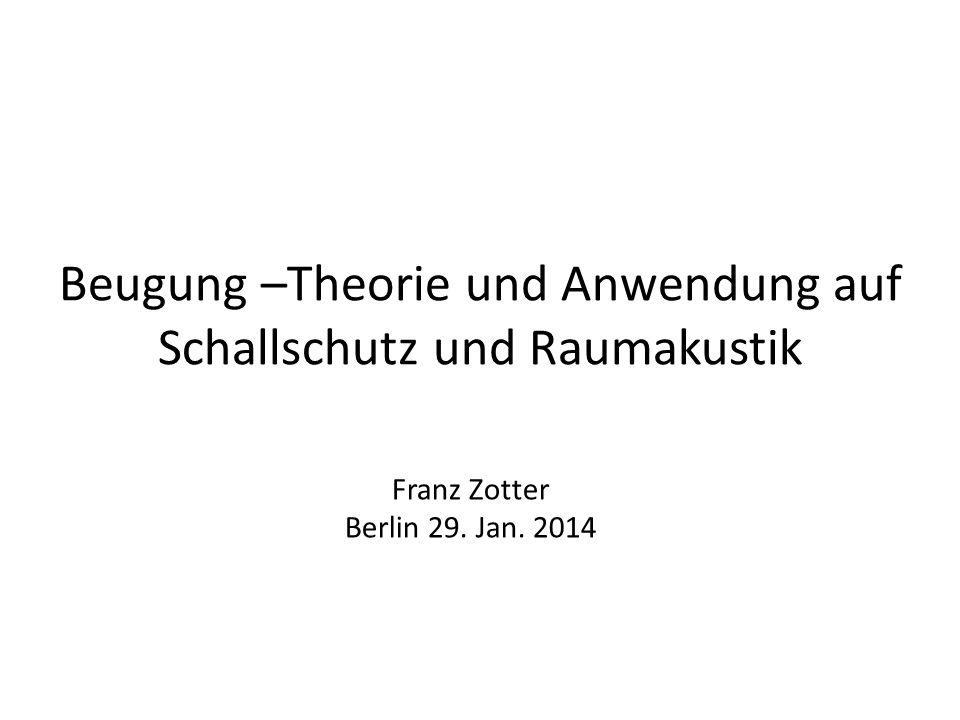 Beugung –Theorie und Anwendung auf Schallschutz und Raumakustik Franz Zotter Berlin 29. Jan. 2014