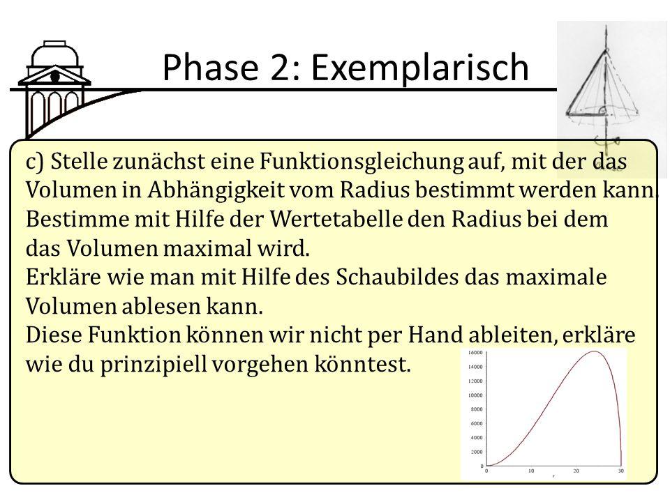 Phase 2: Exemplarisch c) Stelle zunächst eine Funktionsgleichung auf, mit der das Volumen in Abhängigkeit vom Radius bestimmt werden kann. Bestimme mi
