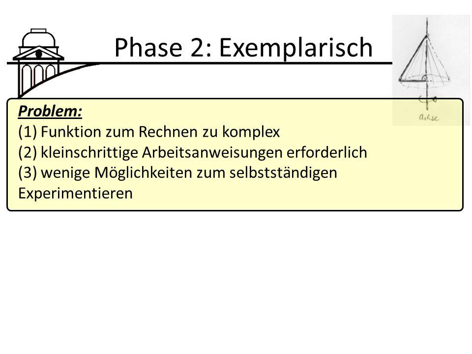 Phase 2: Exemplarisch Problem: (1) Funktion zum Rechnen zu komplex (2) kleinschrittige Arbeitsanweisungen erforderlich (3) wenige Möglichkeiten zum selbstständigen Experimentieren